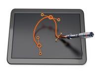 Tableta gráfica con curva y pluma más bezier Fotos de archivo