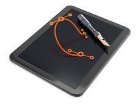 Tableta gráfica con la pluma y la curva más bezier Foto de archivo