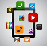 Tableta moderna con los apps. stock de ilustración