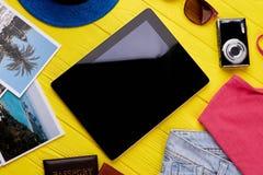 Tableta moderna del ordenador electrónico con Internet Foto de archivo