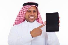 Tableta musulmán del hombre imágenes de archivo libres de regalías