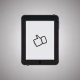 Tableta negra con el icono Foto de archivo libre de regalías