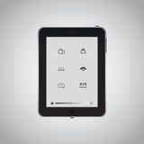 Tableta negra con el icono Fotografía de archivo libre de regalías