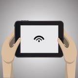 Tableta negra con el icono Fotografía de archivo