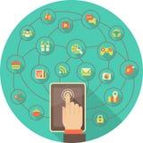Tableta para el establecimiento de una red social stock de ilustración