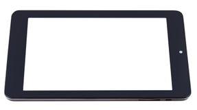 Tableta-PC negra con la pantalla cortada aislada Foto de archivo libre de regalías