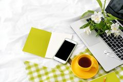 Tableta plana de la endecha, teléfono, taza amarilla de té, ordenador portátil y flores en la manta blanca con la servilleta verd Fotografía de archivo