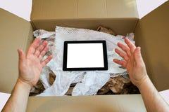 Tableta que adora del usuario Foto de archivo libre de regalías