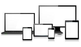 Tableta realista de Smartphone de la pantalla de monitor del ordenador portátil de los dispositivos del ordenador móvil mini Fotografía de archivo