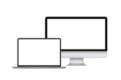 Tableta, smartphone, monitor y ordenador portátil ilustración del vector