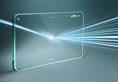 Tableta transparente con efecto luminoso Imagenes de archivo