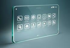Tableta transparente con los iconos de los apps en fondo del bue Foto de archivo libre de regalías