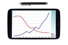Tableta y aguja con el gráfico de beneficio Fotos de archivo libres de regalías