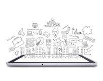 Tableta y bosquejos del negocio Foto de archivo libre de regalías