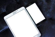Tableta y móvil de Samsung imagen de archivo