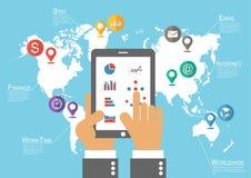 Tableta y mapa del mundo del control del hombre de negocios con el indicador de la ubicación (vector de Infographic)