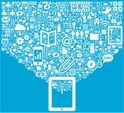 Tableta y medios iconos sociales stock de ilustración