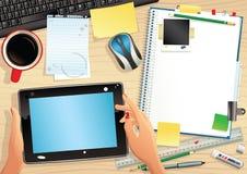 Tableta y mesa del ordenador Ilustración del Vector