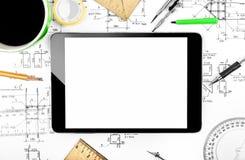 Tableta y plan de la ingeniería Imagen de archivo libre de regalías