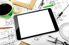 Tableta y plan de la ingeniería Imágenes de archivo libres de regalías