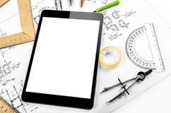 Tableta y plan de la ingeniería Foto de archivo libre de regalías