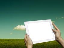 Tableta y prado Imagen de archivo