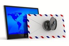 Tableta y sobre en el fondo blanco Fotos de archivo libres de regalías