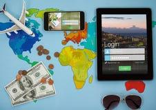Tableta y teléfono con la pantalla de inicio de sesión Viajes Fotos de archivo libres de regalías