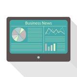 Tabletanzeigen-Wirtschaftsnachrichten Lizenzfreie Stockfotos