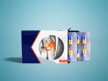 Tabletas en placas de un paquete dos con las cápsulas de los dolores comunes b libre illustration