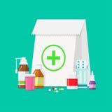Tabletas médicas, botellas, píldoras en un estilo plano Imagen de archivo