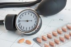 Tabletas y metro de la presión arterial en un calendario Fotografía de archivo libre de regalías
