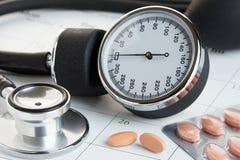 Tabletas y metro de la presión arterial en un calendario Imagen de archivo