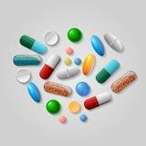 Tabletas y vector de las píldoras Fotos de archivo