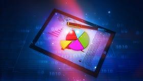 Tabletcomputer en financiële grafieken royalty-vrije stock afbeelding
