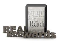 Tabletcomputer en woorden Royalty-vrije Stock Afbeelding