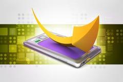 Tabletcomputer met pijl Stock Afbeelding