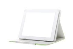 Tabletcomputer met tribune op een witte achtergrond Royalty-vrije Stock Afbeeldingen
