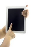 Tabletdator som isoleras i en hand 1 Royaltyfri Fotografi