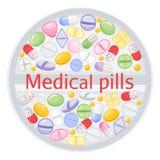 Tabletdesign von verschiedenen bunten Pillen Medizinschmerzmittelpillen, pharmazeutischer Antibiotikumdrogenvektor Satz von Lizenzfreies Stockfoto