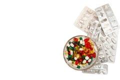 tabletek szereg przedsiębiorstw tło Rozsypisko asortowane różnorodne medycyn pastylki i Zdjęcie Royalty Free