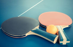 Tabletennis or ping pong rackets and balls on table. Sport conce Royalty Free Stock Photo