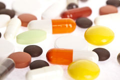 Tabletes用不同的颜色 免版税图库摄影