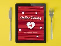Tabletfrühstücks-on-line-Datierung stock abbildung