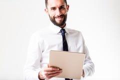 Tabletmens met zijn zaken Royalty-vrije Stock Fotografie