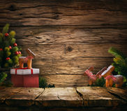 Tabletop with Christmas tree royalty free stock image