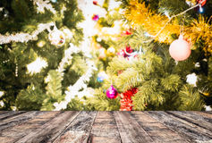 tabletop with christmas tree Stock Photos