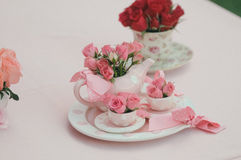 Tabletop decoration. S with roses and ribons stock images