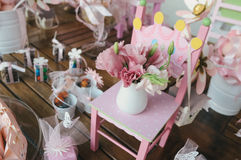 Tabletop decoration. S with tulips and roses royalty free stock photos