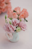 Tabletop decoration. S with tulips and roses royalty free stock photo
